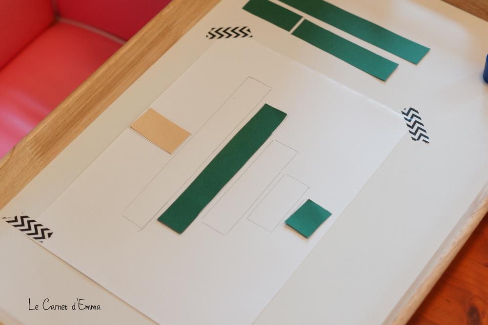 activité manuelle sapin en papier