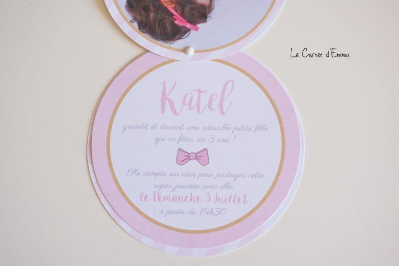 invitation Anniversaire marie aristochats, paris, rose, or