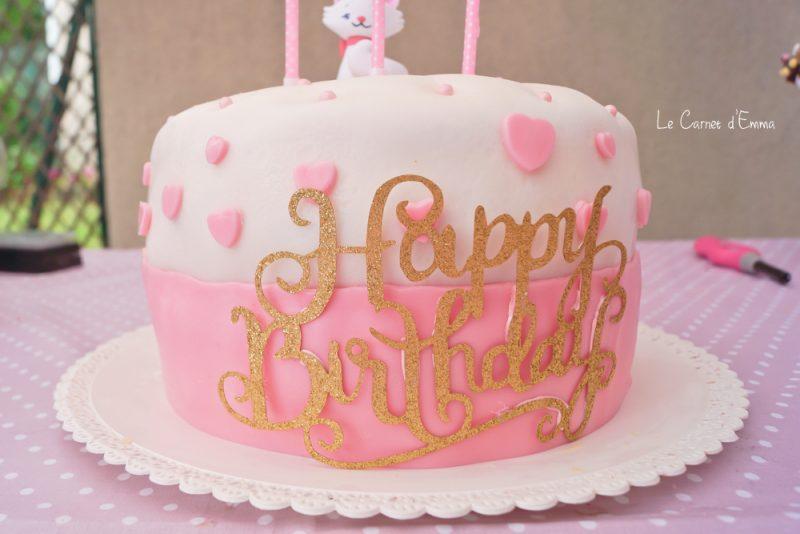 décoration anniversaire thème Marie des aristochats  rose et dorée