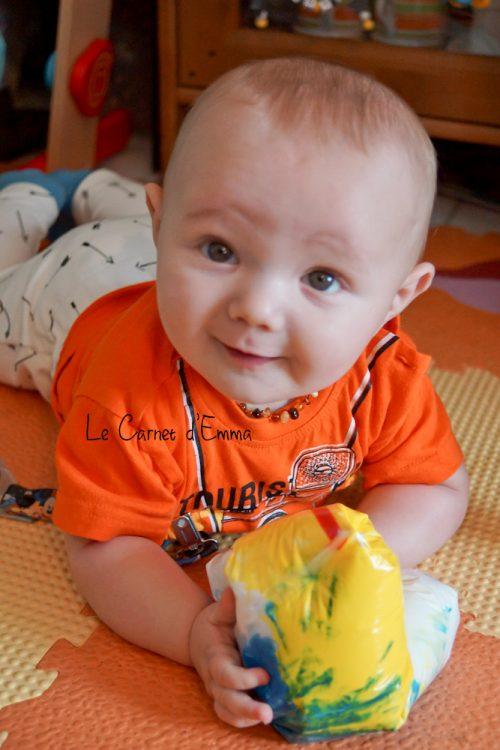 sac sensoriel, activité, sensory bag, bébé