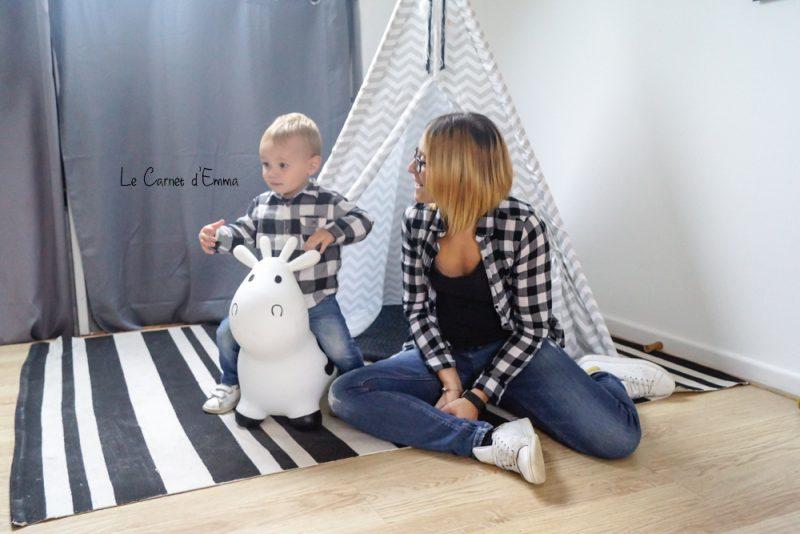 Look Mère fils - Chemise à carreaux Jean