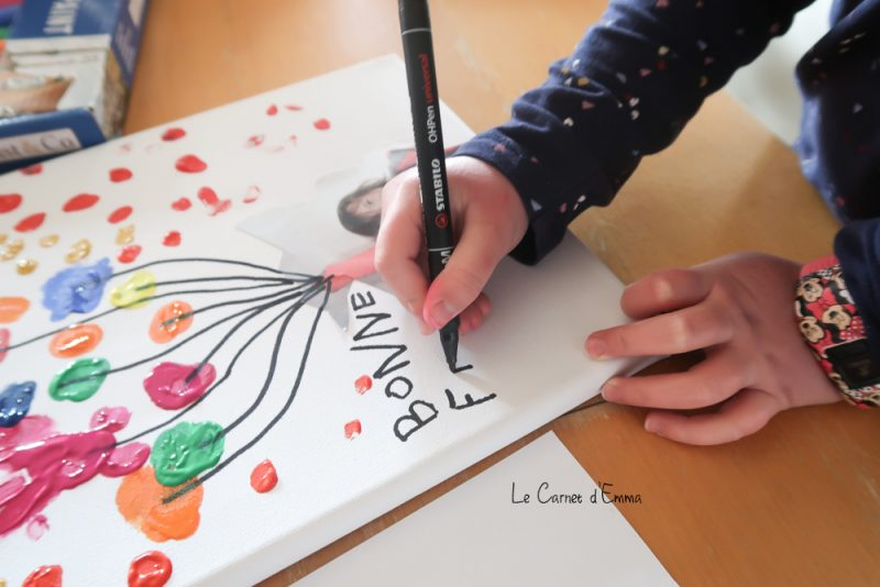 idée activité peinture, cadeau fête des grands mères, toile