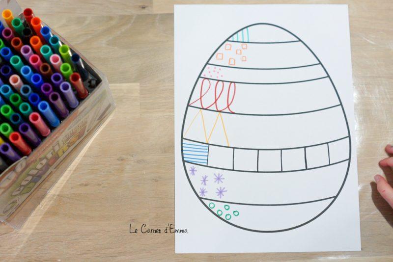 activité de graphisme sur le thème de Pâques