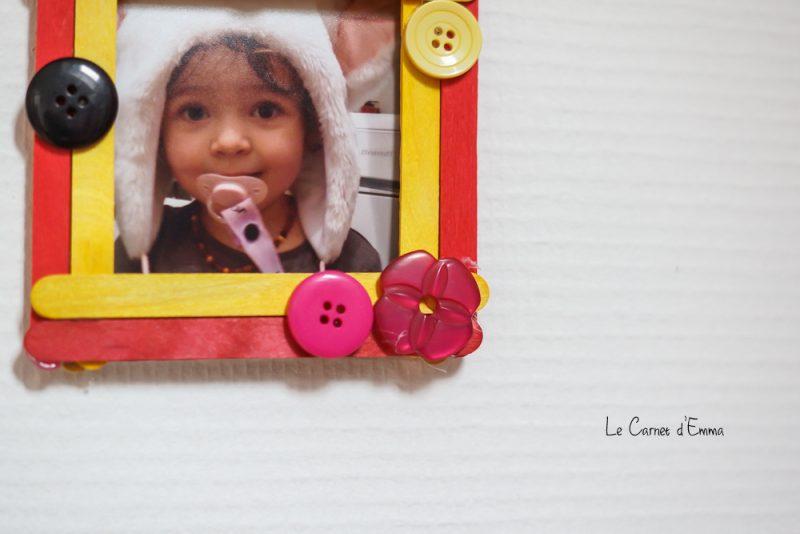 cadre photo bâtonnet en bois activité manuelle idée cadeau fête des mères