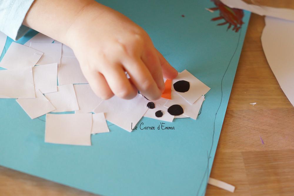 Activité manuelle Hiver Bonhomme de neige DIY Activité enfant Motricité fine Collage Enfant 2-3 ans Enfant 5-6 ans