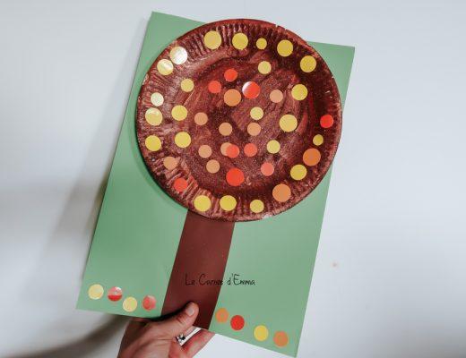 Une idée d'activité manuelle et créative sur le thème de l'automne à faire avec les enfants plus grands et plus petits. Peinture automnale pour fabriquer un arbre avec une assiette en carton et des gommettes