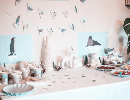 Décoration anniversaire sur le thème animaux polaire. Annikids.