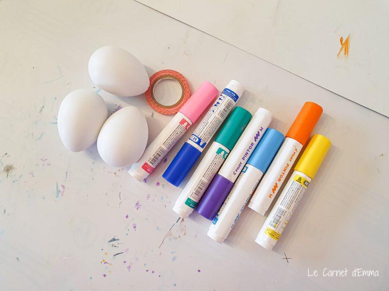 matériel pour l'activité : œufs en plastique, masking tape et feutres pintor