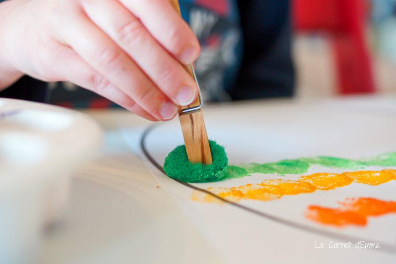 peinture avec des pompons et une pince à linge décorer l'œuf