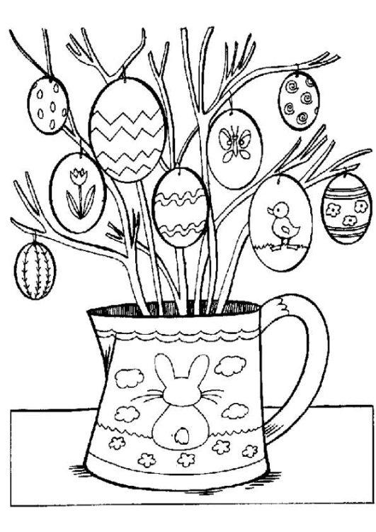 Coloriage sur le thème de Pâques à imprimer. Œufs de pâques, lapin de pâques
