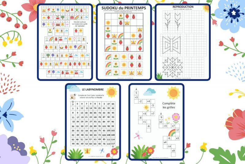 Deux cahiers d'activités à télécharger gratuitement pour les enfants plus petits ou plus grands. Jeux à imprimer sur le thème du printemps