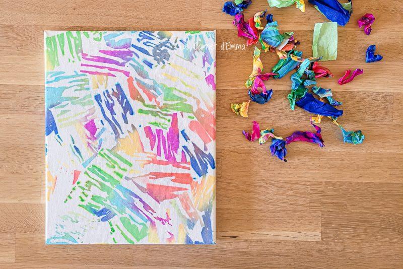 Résultat de l'activité avec la toile qui est colorée