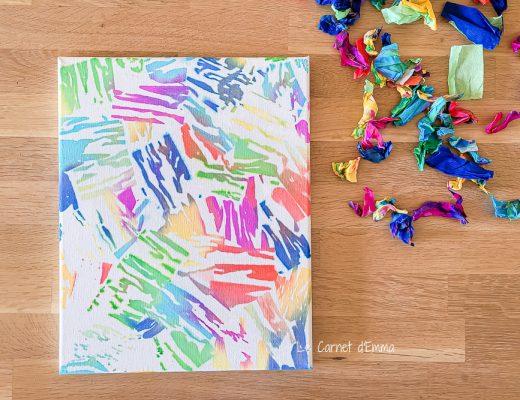 Peindre avec du papier crépon. Activité manuelle enfant