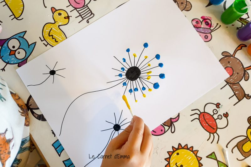 Activité manuelle, de la peinture avec un coton tige pour créer une fleur multicolore